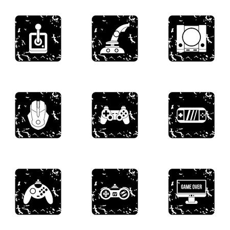 psp: Game console icons set. Grunge illustration of 9 game console vector icons for web Illustration