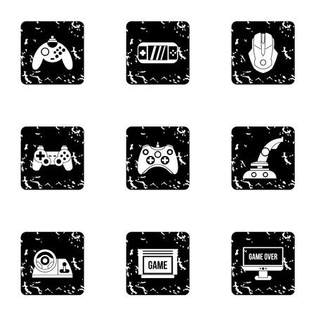 psp: Computer games icons set. Grunge illustration of 9 computer games vector icons for web Illustration