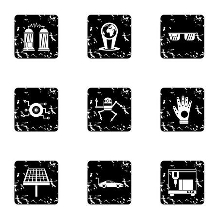 electronic devices: Latest electronic devices icons set. Grunge illustration of 9 latest electronic devices vector icons for web