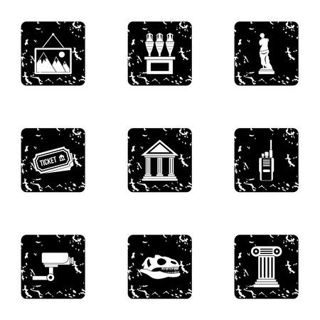 artefact: Historical museum icons set. Grunge illustration of 9 historical museum vector icons for web