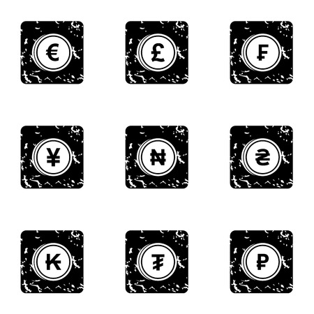 frank: Finance icons set. Grunge illustration of 9 finance vector icons for web Illustration