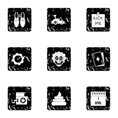 ballyhoo: Jocularity icons set. Grunge illustration of 9 jocularity vector icons for web