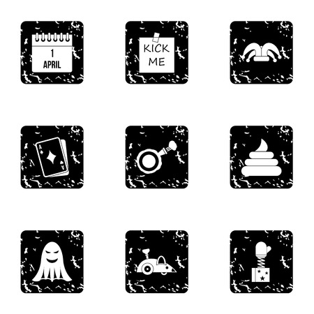 ballyhoo: Joke icons set. Grunge illustration of 9 joke vector icons for web