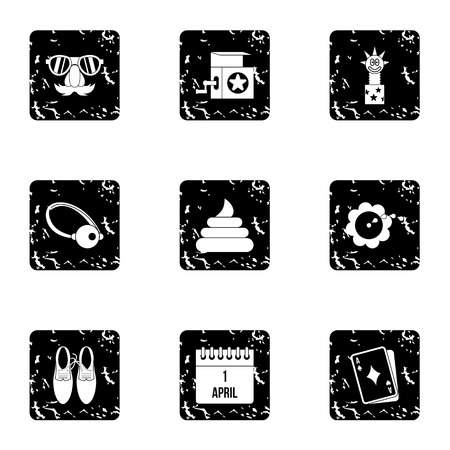 ballyhoo: April fool day icons set. Grunge illustration of 9 april fool day vector icons for web Illustration