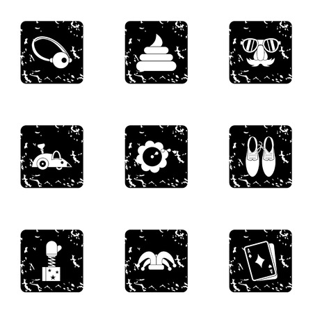 marvel: First of April icons set. Grunge illustration of 9 first of April vector icons for web