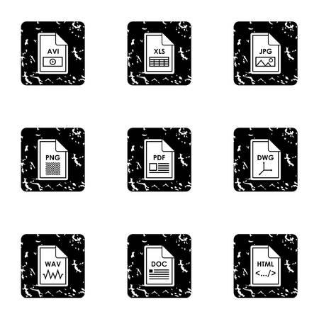 wav: Documents icons set. Grunge illustration of 9 documents vector icons for web Illustration