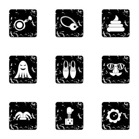 ballyhoo: Funny joke icons set. Grunge illustration of 9 funny joke vector icons for web