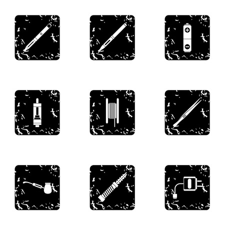 vaporize: Electronic smoking cigarette icons set. Grunge illustration of 9 electronic smoking cigarette vector icons for web