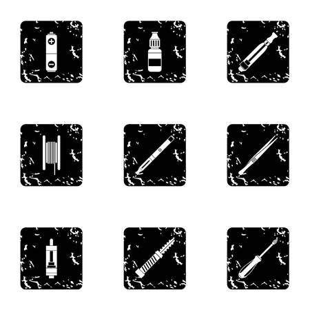 vaporizer: Tobacco icons set. Grunge illustration of 9 tobacco vector icons for web