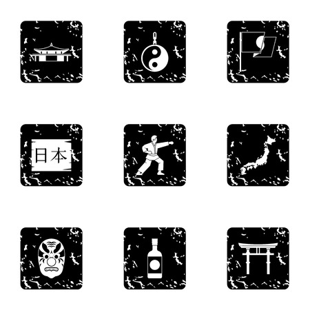 Country Japan icons set. Grunge illustration of 9 country Japan vector icons for web