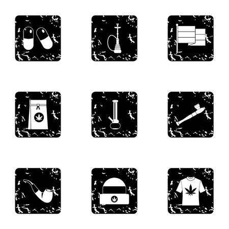 bong: Marijuana icons set. Grunge illustration of 9 marijuana vector icons for web