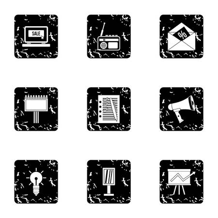 contextual: Contextual advertising icons set. Grunge illustration of 9 contextual advertising vector icons for web
