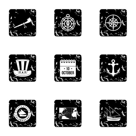 pioneer: Pioneer icons set. Grunge illustration of 9 pioneer vector icons for web