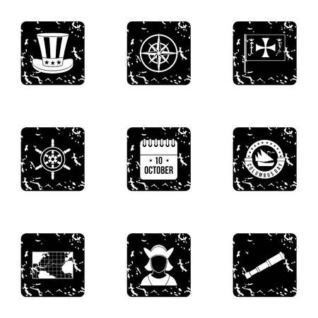 geography: Geography icons set. Grunge illustration of 9 geography vector icons for web