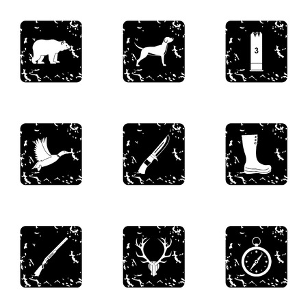 wildlife shooting: Bird hunting icons set. Grunge illustration of 9 bird hunting vector icons for web