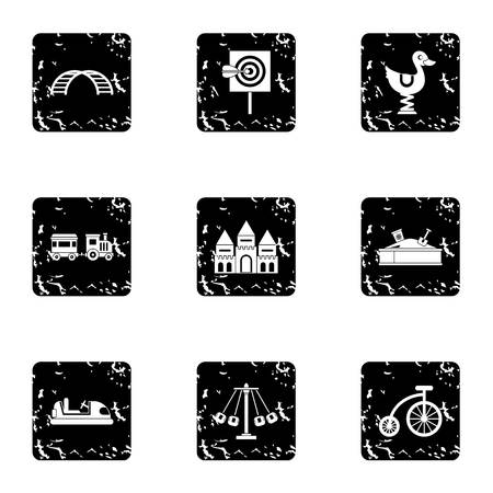 amusement park black and white: Swing icons set. Grunge illustration of 9 swing vector icons for web