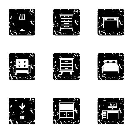 home furnishings: Home furnishings icons set. Grunge illustration of 9 home furnishings vector icons for web