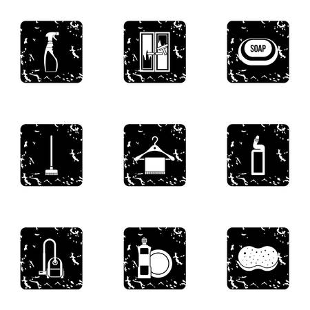 besom: Maid service and house cleaning icons set. Grunge illustration of 9 maid service and house cleaning vector icons for web
