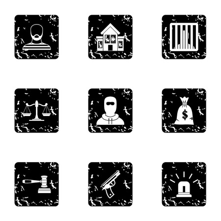 robbery: Robbery icons set. Grunge illustration of 9 robbery vector icons for web