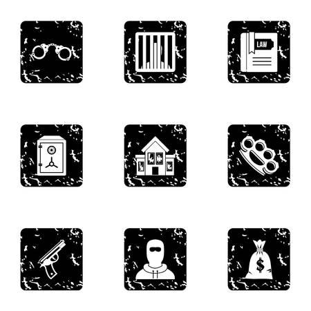 delito: Iconos de delitos. Grunge ilustración de los iconos del vector 9 ofensa para web
