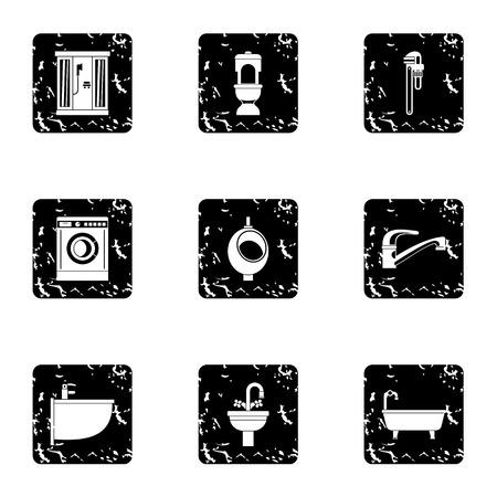 hot tub: Equipment for bathroom icons set. Grunge illustration of 9 equipment for bathroom vector icons for web Illustration