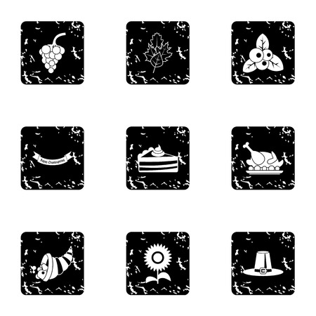 Thanksgiving feast icons set. Grunge illustration of 9 thanksgiving feast vector icons for web