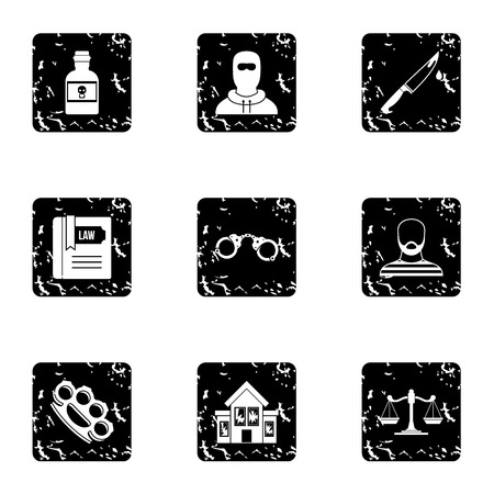 Lawlessness icons set. Grunge illustration of 9 lawlessness vector icons for web Illustration