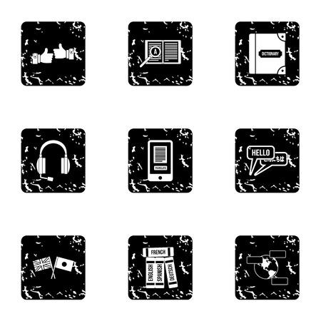 talking dictionary: Languages icons set. Grunge illustration of 9 language vector icons for web
