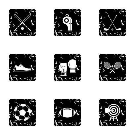 baseball stuff: Sports stuff icons set. Grunge illustration of 9 sports stuff vector icons for web