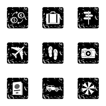 brolly: Rest on sea icons set. Grunge illustration of 9 rest on sea vector icons for web