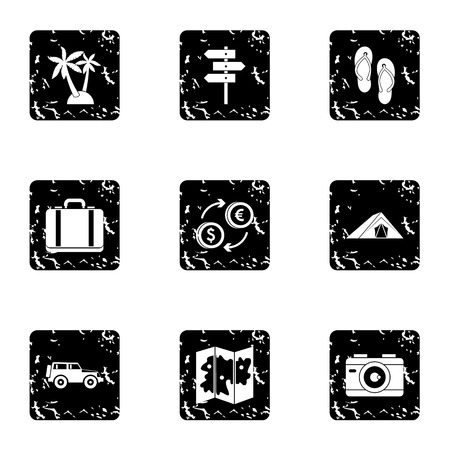 brolly: Travel to sea icons set. Grunge illustration of 9 travel to sea vector icons for web Illustration