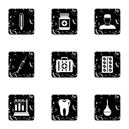 doctoral: Doctoral icons set. Grunge illustration of 9 doctoral vector icons for web