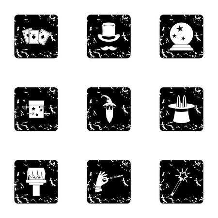 sorcery: Sorcery icons set. Grunge illustration of 9 sorcery vector icons for web
