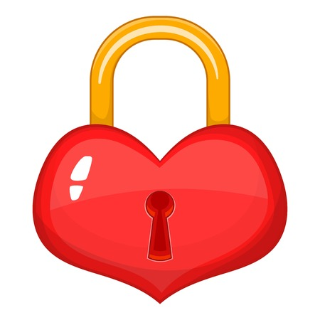Heart-shaped lock icon. Cartoon illustration of heart-shaped lock vector icon for web design