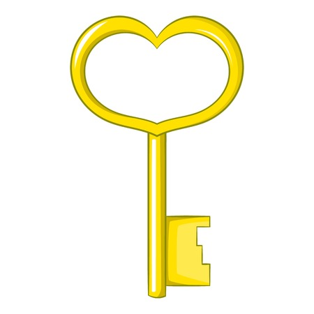Key in heart shape icon. Cartoon illustration of key in heart shape vector icon for web design