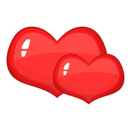Two red hearts icon. Cartoon illustration of red hearts vector icon for web design