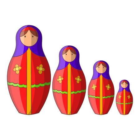 matreshka: Russian tradition matryoshka doll icon. Cartoon illustration of russian tradition matryoshka doll vector icon for web design