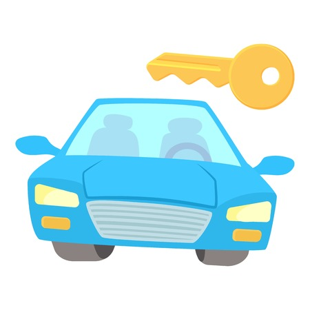 Blue car icon. Cartoon illustration of blue car vector icon for web Illustration