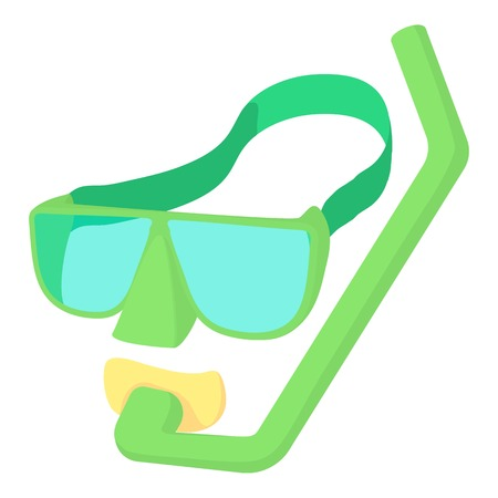 rubber tube: Swimming mask icon. Cartoon illustration of swimming mask vector icon for web