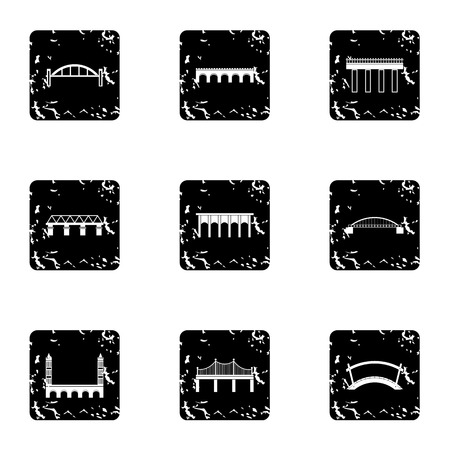 transportation facilities: Facility for crossing river icons set. Grunge illustration of 9 facility for crossing river vector icons for web Illustration