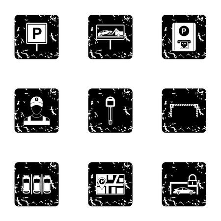 activate: Parking station icons set. Grunge illustration of 9 parking station vector icons for web Illustration