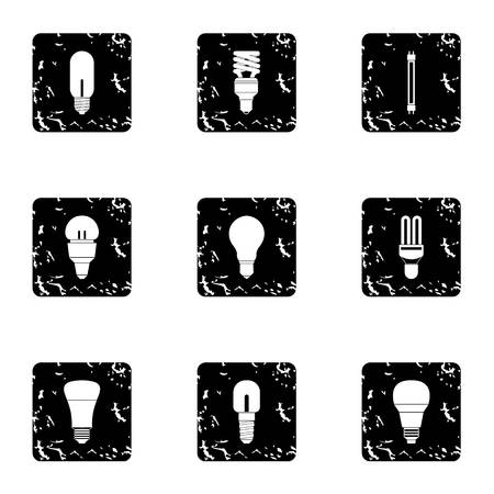 threaded: Lamp for home icons set. Grunge illustration of 9 lamp for home vector icons for web Illustration