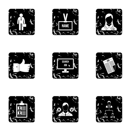 list of successful candidates: Work icons set. Grunge illustration of 9 work vector icons for web Illustration