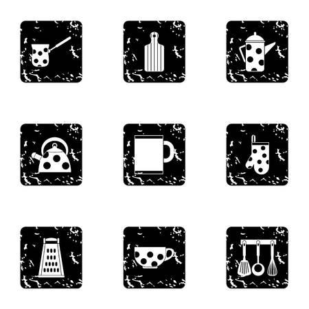 grunge flatware: Kitchenware icons set. Grunge illustration of 9 kitchenware vector icons for web