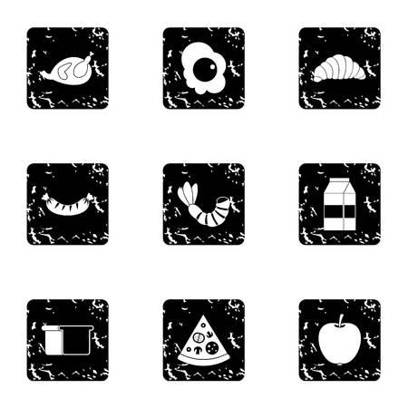 fried shrimp: Breakfast icons set. Grunge illustration of 9 breakfast vector icons for web