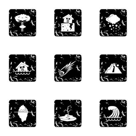 land slide: Natural catastrophe icons set. Grunge illustration of 9 natural catastrophe vector icons for web Illustration
