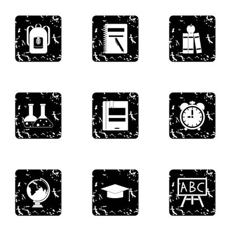 schoolhouse: Schoolhouse icons set. Grunge illustration of 9 schoolhouse vector icons for web