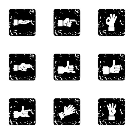 extremity: Gesture icons set. Grunge illustration of 9 gesture vector icons for web