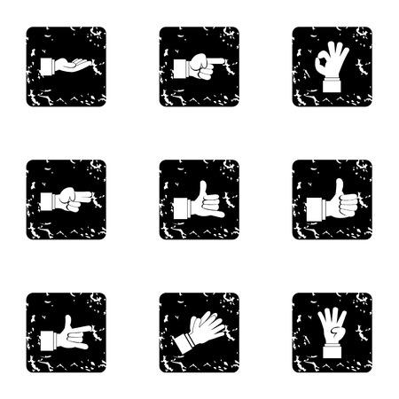 gesture set: Gesture icons set. Grunge illustration of 9 gesture vector icons for web