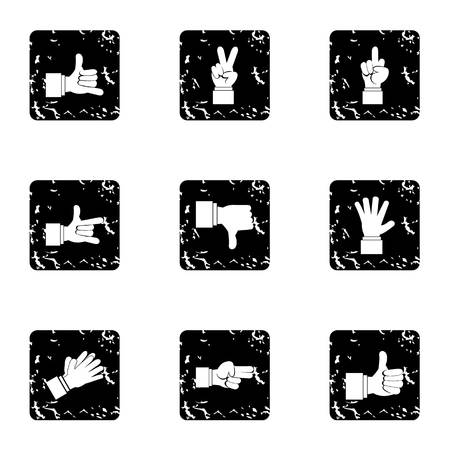 extremity: Hand icons set. Grunge illustration of 9 hand vector icons for web